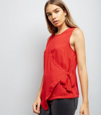 Red Wrap Front Sleeveless Top