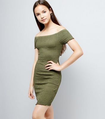 Teens Khaki Shirred Bardot Neck Dress