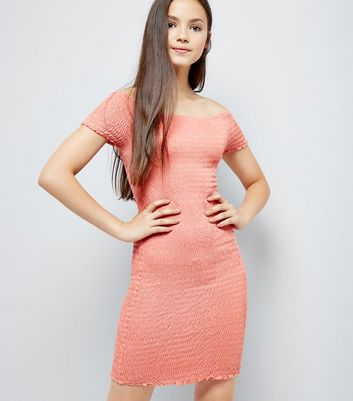 Teens Pink Shirred Bardot Neck Dress