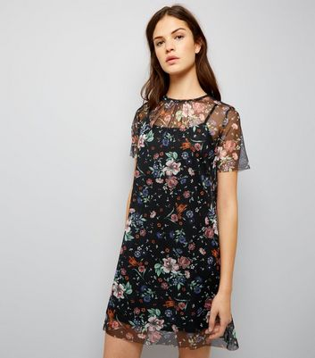 Black Floral Mesh Print 2 in 1 Dress