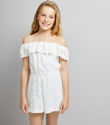 Teens White Lace Bardot Neck Playsuit