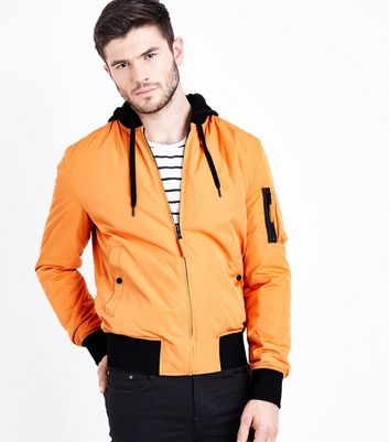 Orange Contrast Hood Bomber Jacket