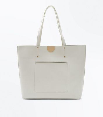 Grey Patch Pocket Tote Bag