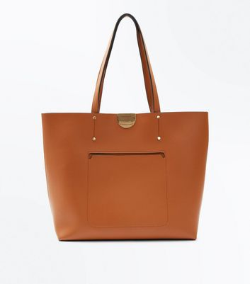 Tan Patch Pocket Tote Bag
