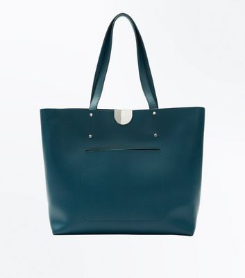 Blue Patch Pocket Tote Bag