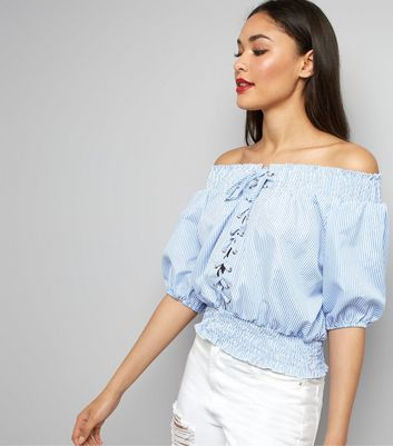 Cameo Rose Pale Blue Lace Up Bardot Top