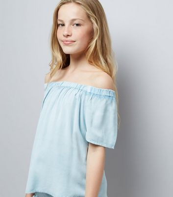 Teens Pale Blue Wash Bardot Neck Top