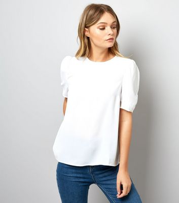 White Puff Ruched Sleeve T-Shirt