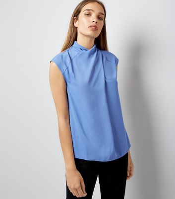 Blue Wrap Neck Sleeveless Top