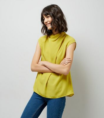 Yellow Wrap Neck Sleeveless Top
