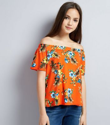 Teens Orange Tropical Print Bardot Neck Top