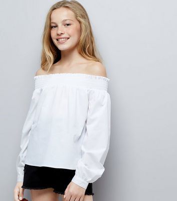 Teens White Long Sleeve Bardot Neck Top