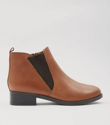 Tan Leather Elasticated Side Chelsea Boots