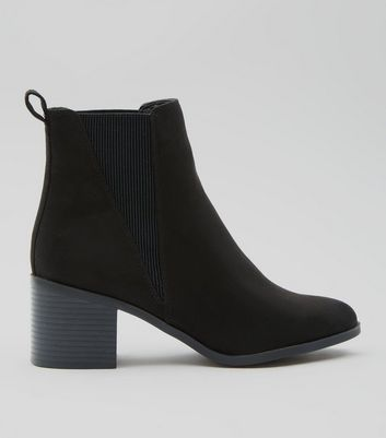 Black Suedette Elasticated Side Ankle Boots