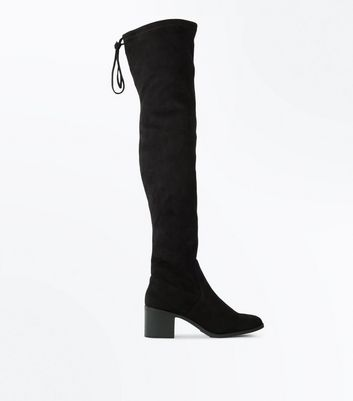 Black Suedette Over The Knee Block Heel Boots