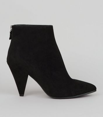Black Suedette Ankle Heeled Boots