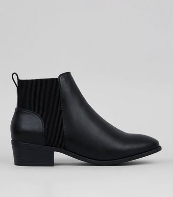 Black Elasticated Side Chelsea Boots