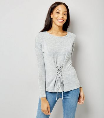 Blue Vanilla Grey Corset Long Sleeve Top