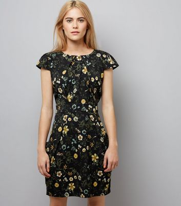 Blue Vanilla Black Floral Print Tulip Dress