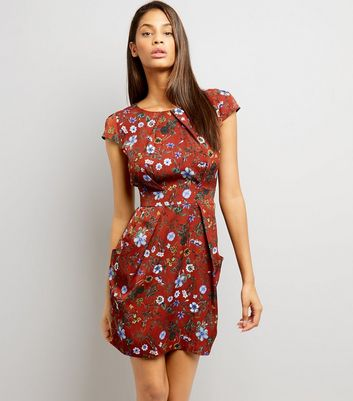 Blue Vanilla Brown Floral Print Tulip Dress