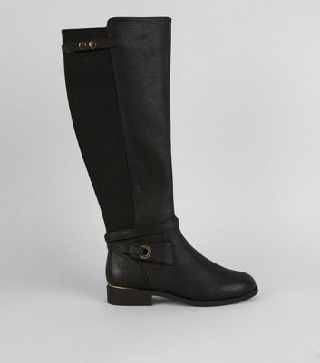 Black Ankle Strap Knee High Boots