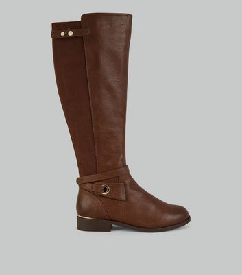 Brown Ankle Strap Knee High Boots