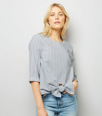 Grey Stripe Knot Front Poplin Top