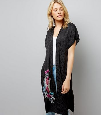 Black Embroidered Bird Longline Kimono