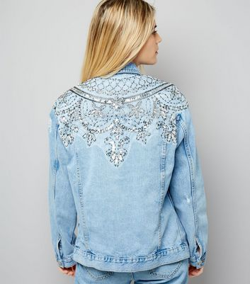 Blue Beaded Back Denim Jacket