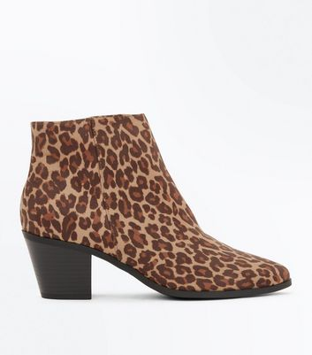 Stone Leopard Print Suedette Western Ankle Boots