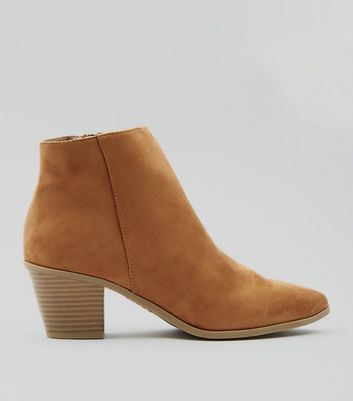 Tan Suedette Western Ankle Boots