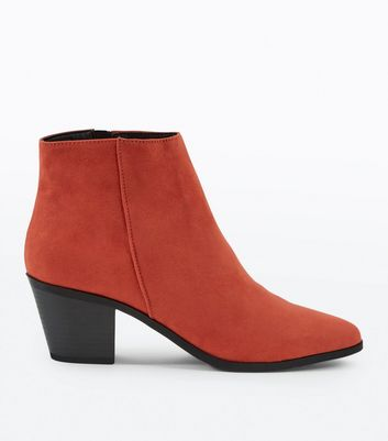 Tan Stirrup Side Low Heel Ankle Boots; Red Suedette Western Ankle Boots