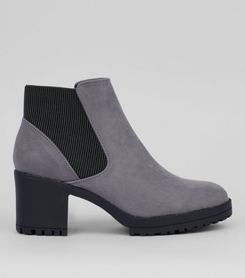 Grey Suedette Chunky Chelsea Boots
