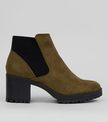 Khaki Suedette Chunky Chelsea Boots