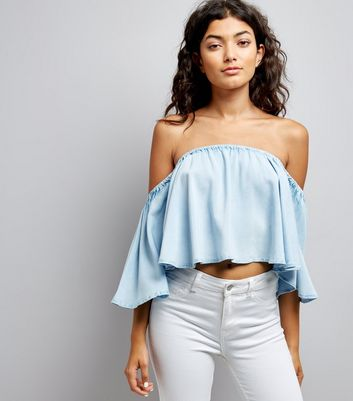 Blue Cropped Bardot Neck Top