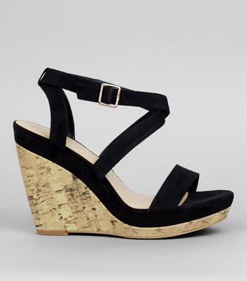 Black Multi Strap Wedge Sandals