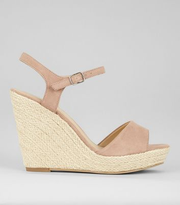 Nude Wedged Espadrille Heeled Sandals