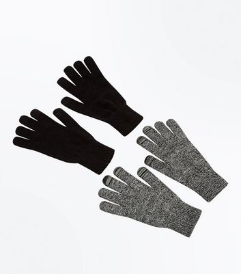 2 Pack Black Touch Screen Gloves