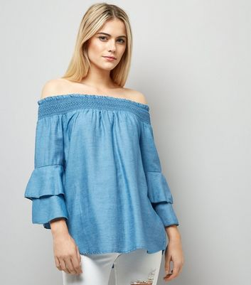 Blue Vanilla Blue Bardot Neck Frill Trim Top