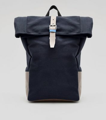 Navy Roll Top Backpack