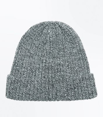 Black Ribbed Twist Top Beanie