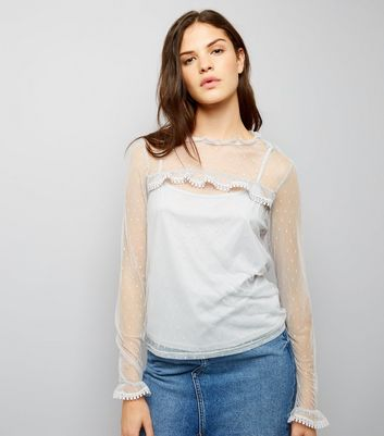 Blue Vanilla Grey Frill Trim Sheer Panel Top