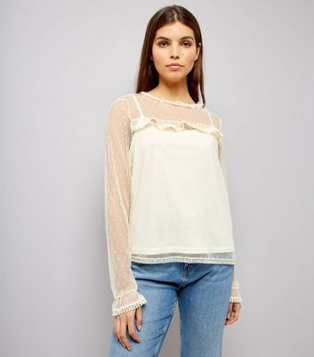 Blue Vanilla Cream Frill Trim Sheer Panel Top