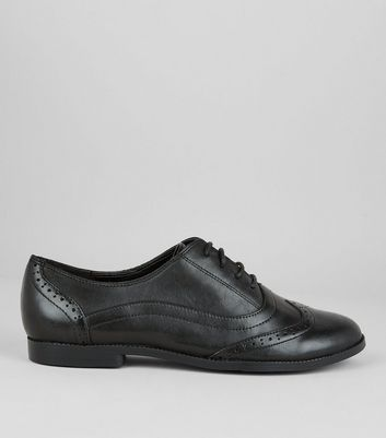 Teens Black Leather School Brogues