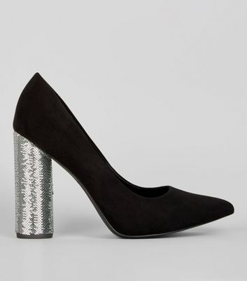 Wide Fit Black Suedette Sequin Block Heels