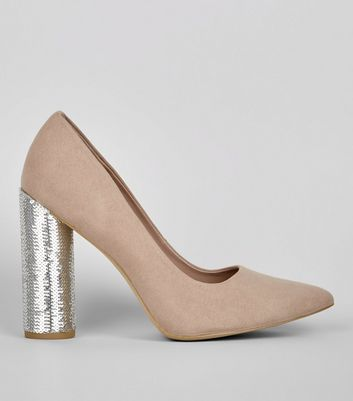 Wide Fit Mink Suedette Sequin Block Heels
