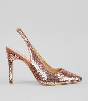 Wide Fit Pink Sequin Sling Back Heels