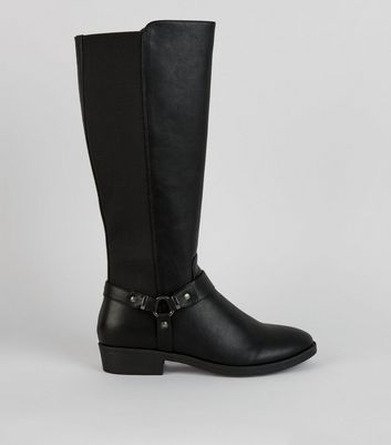 Black Stirrup Knee High Boots