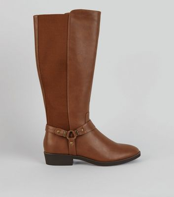 Tan Stirrup Knee High Boots