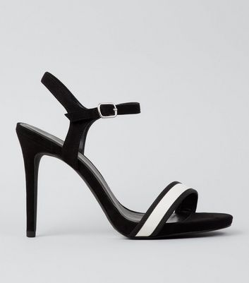 Wide Fit Black Stripe Panel Heeled Sandals